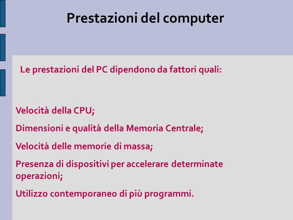 Prestazioni del computer Velocità della CPU; Dimensioni e qualità della Memoria Centrale; Velocità delle memorie di massa; Presenza di dispositivi per accelerare determinate operazioni; Utilizzo contemporaneo di più programmi.