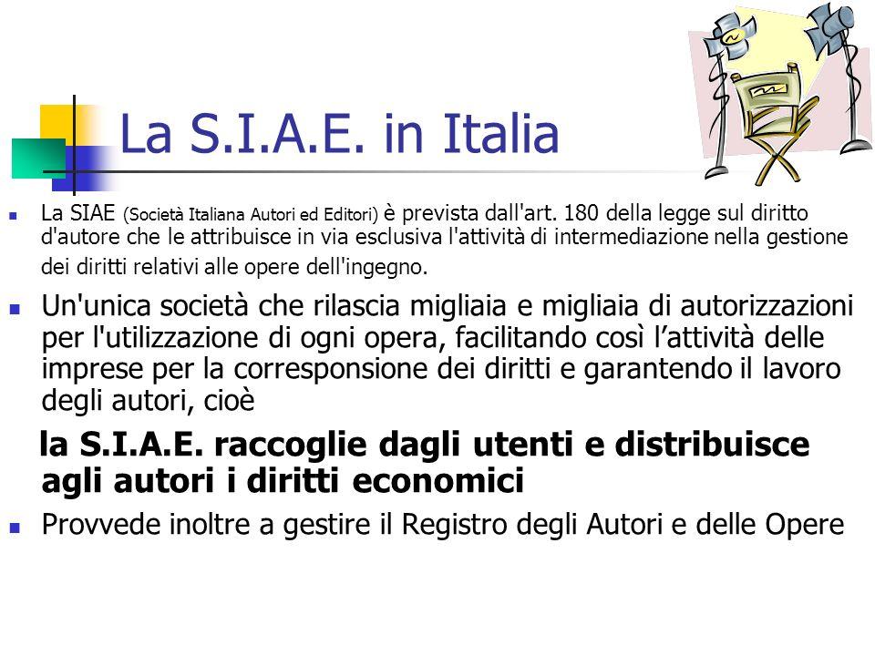 La S.I.A.E. in Italia La SIAE (Società Italiana Autori ed Editori) è prevista dall'art. 180 della legge sul diritto d'autore che le attribuisce in via