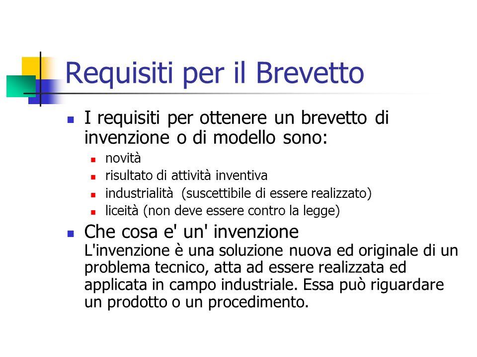 Requisiti per il Brevetto I requisiti per ottenere un brevetto di invenzione o di modello sono: novità risultato di attività inventiva industrialità (