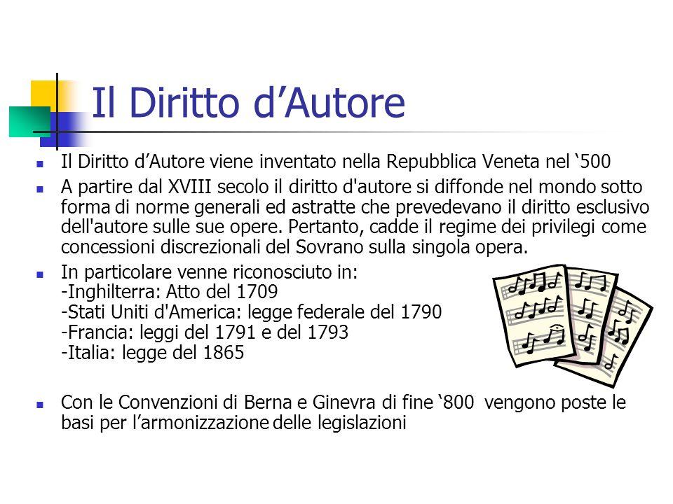Il Diritto dAutore Il Diritto dAutore viene inventato nella Repubblica Veneta nel 500 A partire dal XVIII secolo il diritto d'autore si diffonde nel m