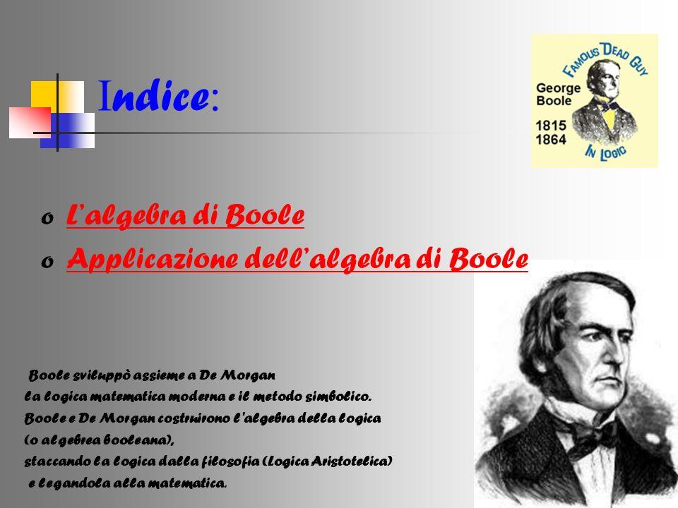 I ndice : o Lalgebra di Boole Lalgebra di Boole o Applicazione dellalgebra di Boole Applicazione dellalgebra di Boole Boole sviluppò assieme a De Morg