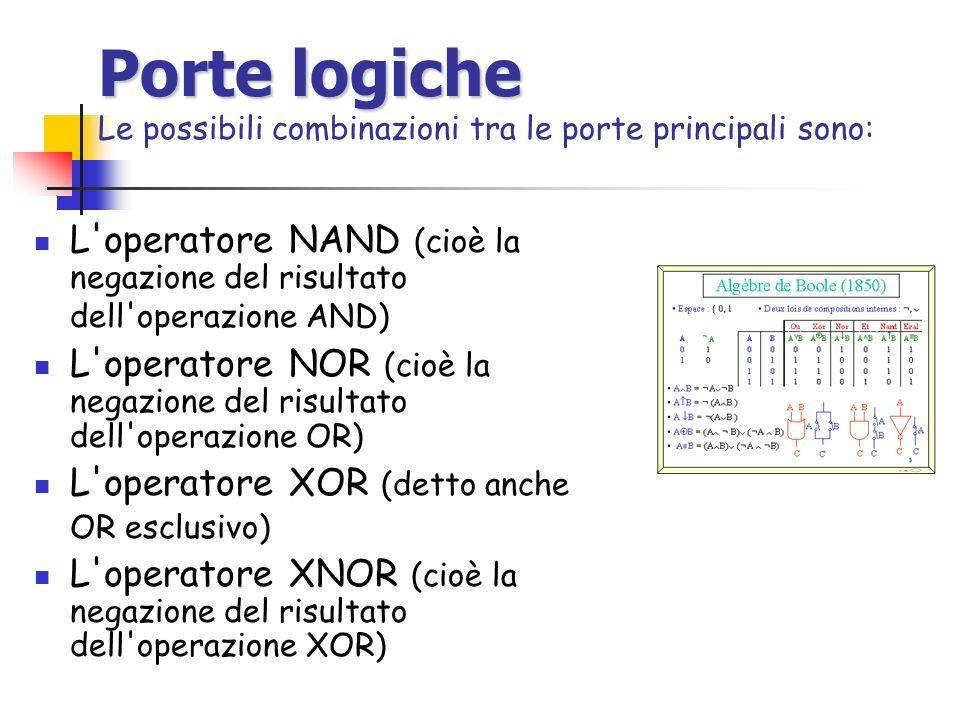 Porte logiche Porte logiche Le possibili combinazioni tra le porte principali sono: L'operatore NAND (cioè la negazione del risultato dell'operazione