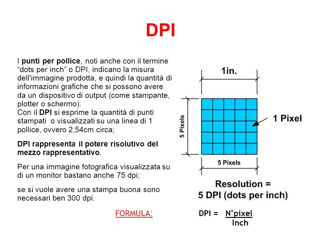 PIXEL & DPI Normalmente un monitor da 17 ha un DPI uguale a 75 pixel per pollice.