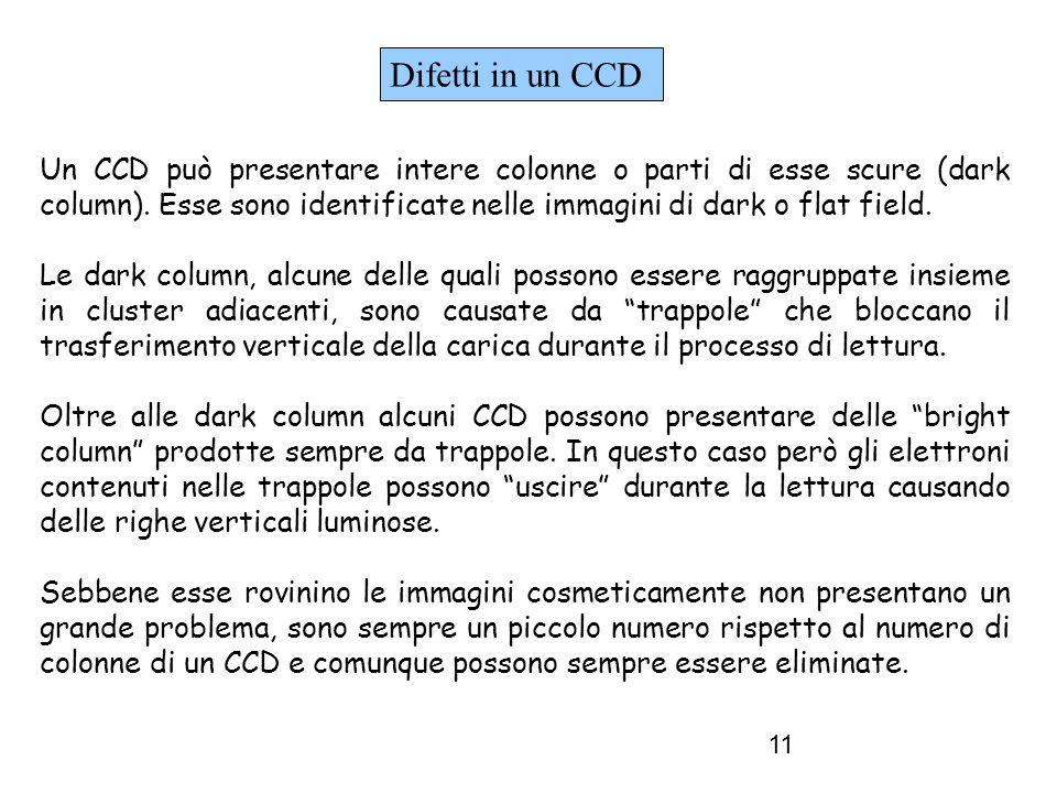 11 Un CCD può presentare intere colonne o parti di esse scure (dark column).