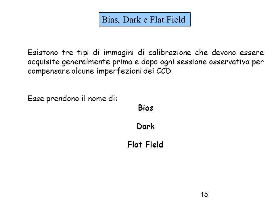 15 Bias, Dark e Flat Field Esistono tre tipi di immagini di calibrazione che devono essere acquisite generalmente prima e dopo ogni sessione osservativa per compensare alcune imperfezioni dei CCD Esse prendono il nome di: Bias Dark Flat Field