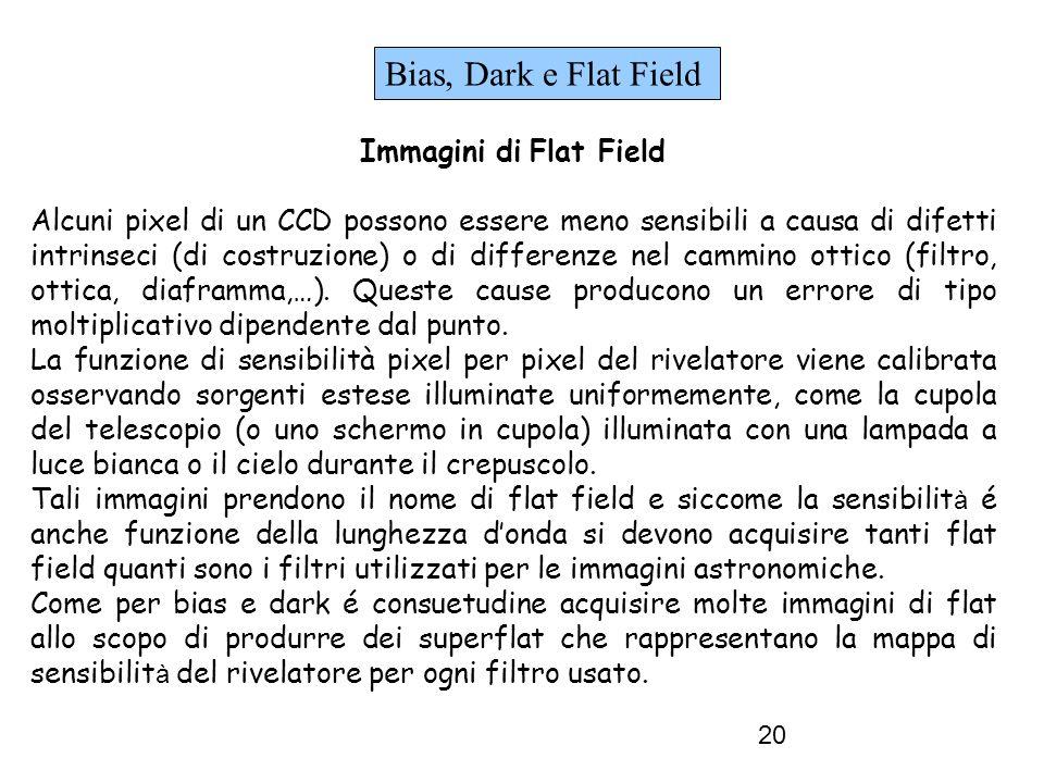 20 Bias, Dark e Flat Field Immagini di Flat Field Alcuni pixel di un CCD possono essere meno sensibili a causa di difetti intrinseci (di costruzione) o di differenze nel cammino ottico (filtro, ottica, diaframma,…).