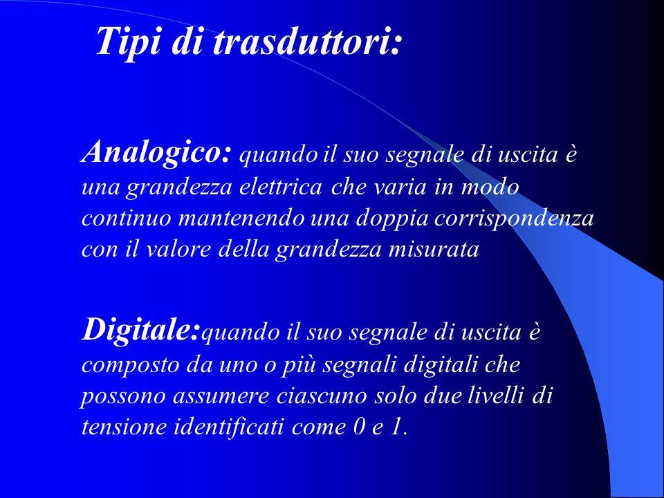 Tipi di trasduttori: Analogico: quando il suo segnale di uscita è una grandezza elettrica che varia in modo continuo mantenendo una doppia corrisponde