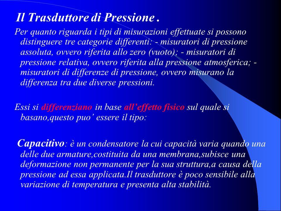 Il Trasduttore di Pressione. Per quanto riguarda i tipi di misurazioni effettuate si possono distinguere tre categorie differenti: - misuratori di pre