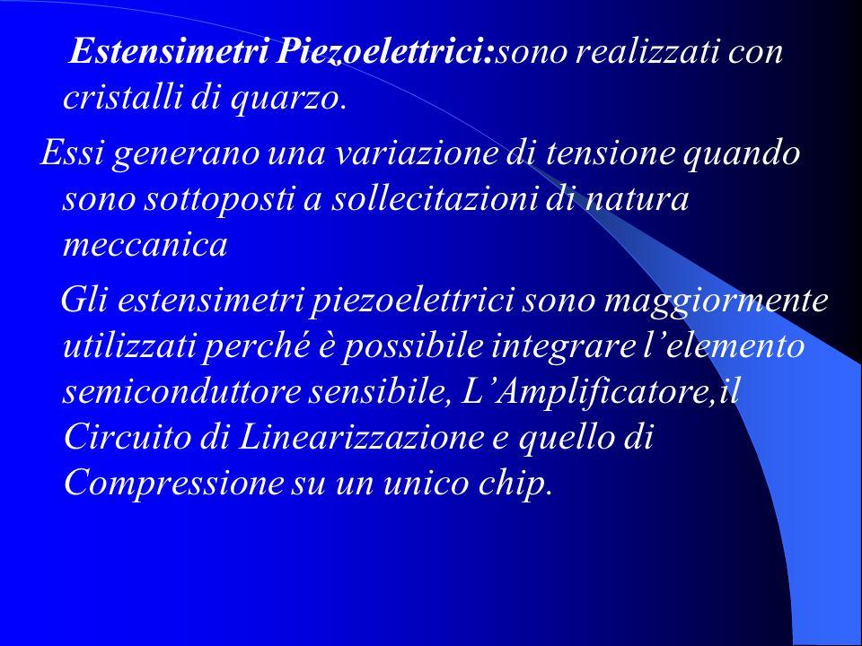 Estensimetri Piezoelettrici:sono realizzati con cristalli di quarzo. Essi generano una variazione di tensione quando sono sottoposti a sollecitazioni