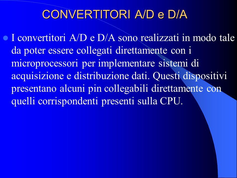 CONVERTITORI A/D e D/A I convertitori A/D e D/A sono realizzati in modo tale da poter essere collegati direttamente con i microprocessori per implemen