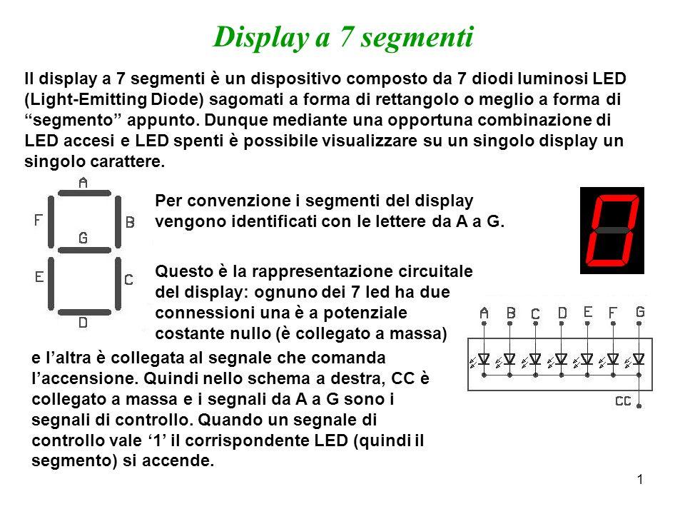 2 Display a 7 segmenti Supponiamo ora di voler visualizzare, su un display a 7 segmenti, una cifra BCD, definita dai 4 segnali X[3..0] Il problema da risolvere è dunque transcodificare, cioè tradurre il codice BCD nel codice a 7 segmenti.