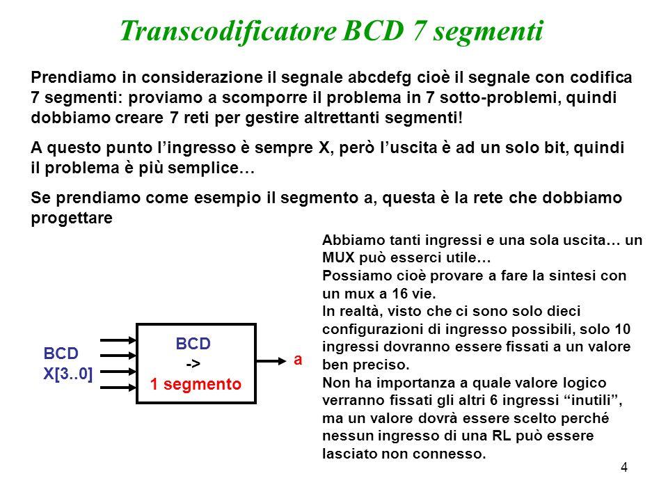 4 Transcodificatore BCD 7 segmenti Prendiamo in considerazione il segnale abcdefg cioè il segnale con codifica 7 segmenti: proviamo a scomporre il pro