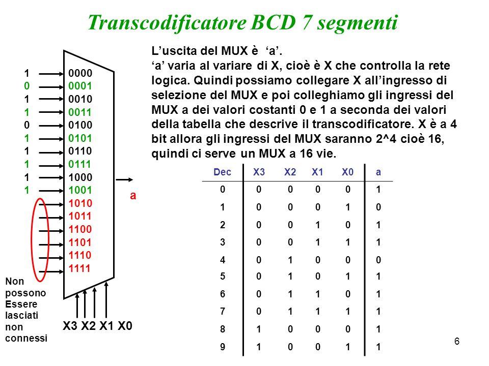 6 Transcodificatore BCD 7 segmenti a Luscita del MUX è a. a varia al variare di X, cioè è X che controlla la rete logica. Quindi possiamo collegare X