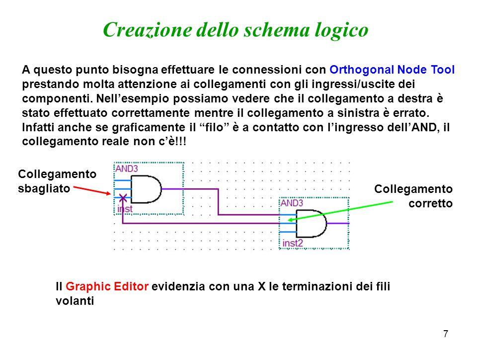 8 Creazione dello schema logico Finito di creare il circuito logico bisogna specificare quali sono i nodi di ingresso e di uscita.