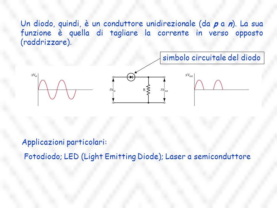 Un diodo, quindi, è un conduttore unidirezionale (da p a n).