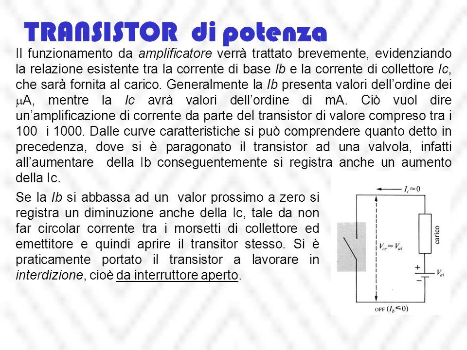 TRANSISTOR di potenza Il funzionamento da amplificatore verrà trattato brevemente, evidenziando la relazione esistente tra la corrente di base Ib e la corrente di collettore Ic, che sarà fornita al carico.