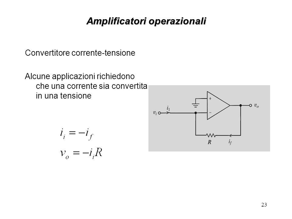 22 Amplificatori operazionali Amplificatore sommatore lo schema raffigurato rappresenta un amplificatore sommatore nel quale la tensione di uscita val