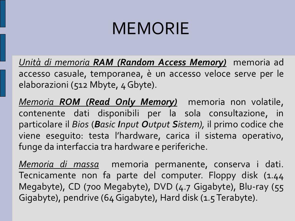 Unità di memoria RAM (Random Access Memory) memoria ad accesso casuale, temporanea, è un accesso veloce serve per le elaborazioni (512 Mbyte, 4 Gbyte)