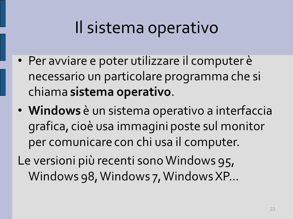 Il sistema operativo Per avviare e poter utilizzare il computer è necessario un particolare programma che si chiama sistema operativo. Windows è un si