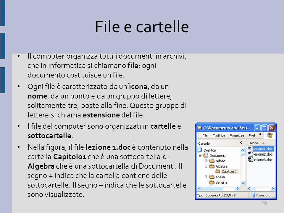 File e cartelle Il computer organizza tutti i documenti in archivi, che in informatica si chiamano file: ogni documento costituisce un file. Ogni file