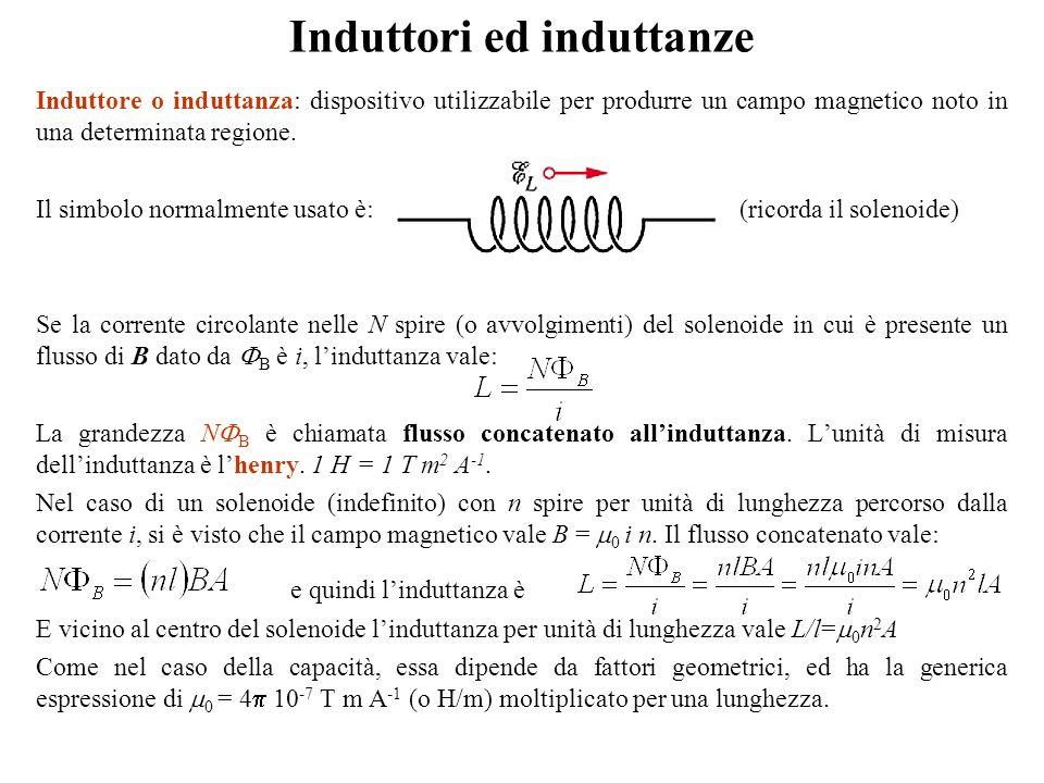 Induttori ed induttanze Induttore o induttanza: dispositivo utilizzabile per produrre un campo magnetico noto in una determinata regione. Il simbolo n