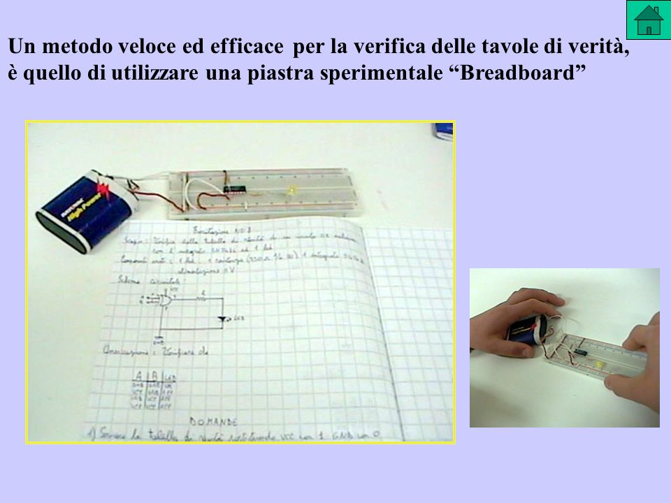 Un metodo veloce ed efficace per la verifica delle tavole di verità, è quello di utilizzare una piastra sperimentale Breadboard