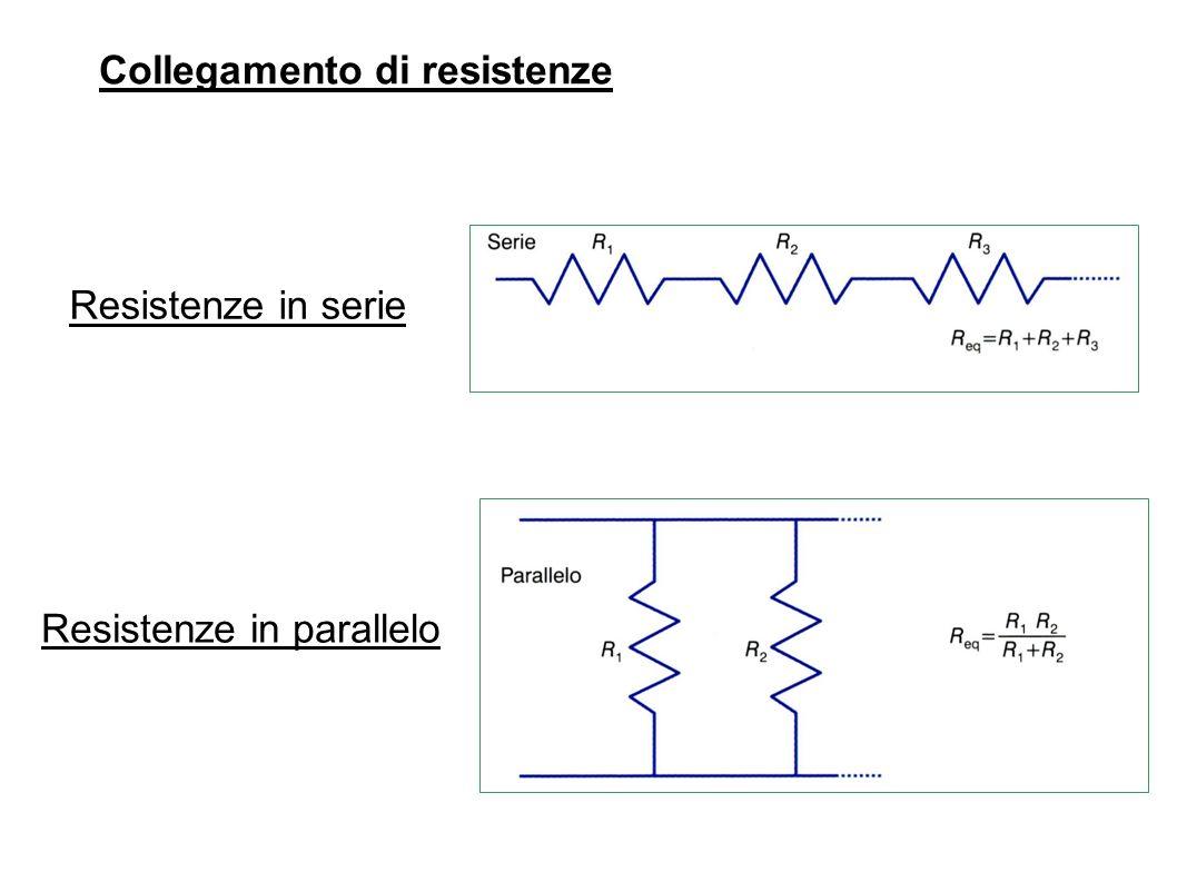Resistenze in serie Resistenze in parallelo Collegamento di resistenze