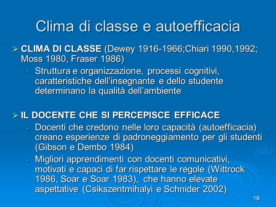 16 Clima di classe e autoefficacia CLIMA DI CLASSE (Dewey 1916-1966;Chiari 1990,1992; Moss 1980, Fraser 1986) CLIMA DI CLASSE (Dewey 1916-1966;Chiari