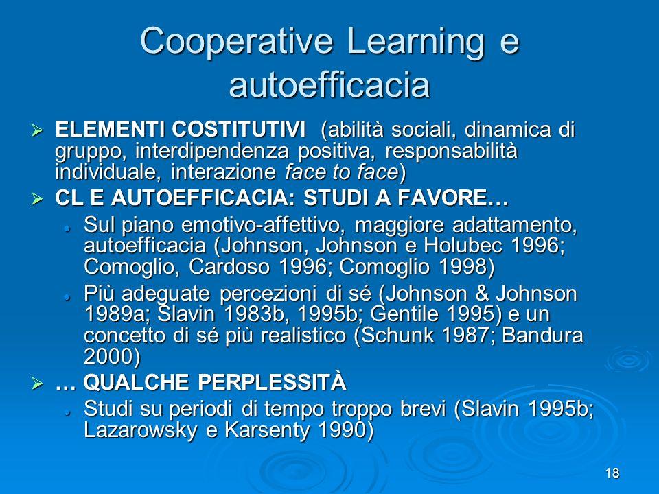 18 Cooperative Learning e autoefficacia ELEMENTI COSTITUTIVI (abilità sociali, dinamica di gruppo, interdipendenza positiva, responsabilità individual