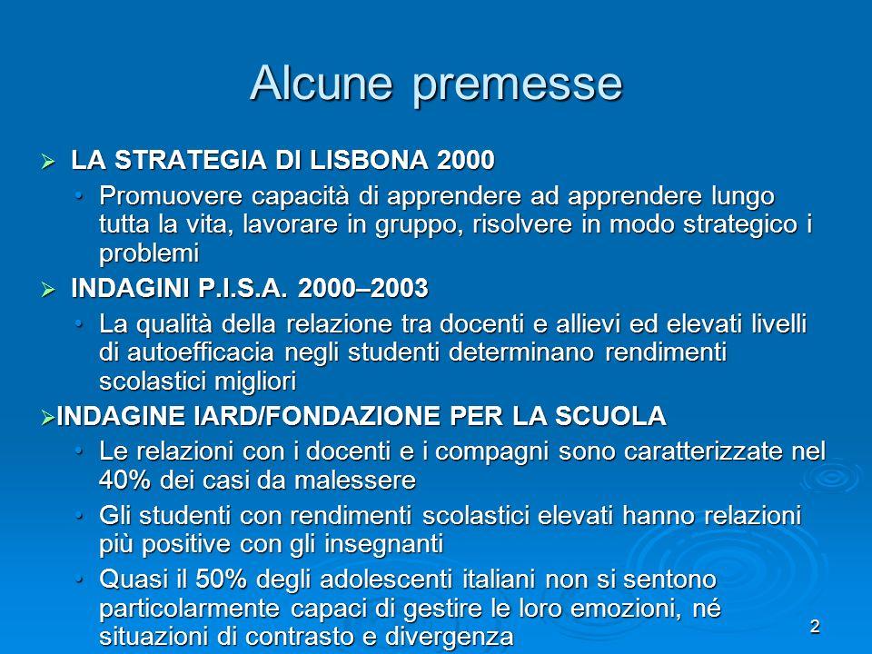 2 Alcune premesse LA STRATEGIA DI LISBONA 2000 LA STRATEGIA DI LISBONA 2000 Promuovere capacità di apprendere ad apprendere lungo tutta la vita, lavor