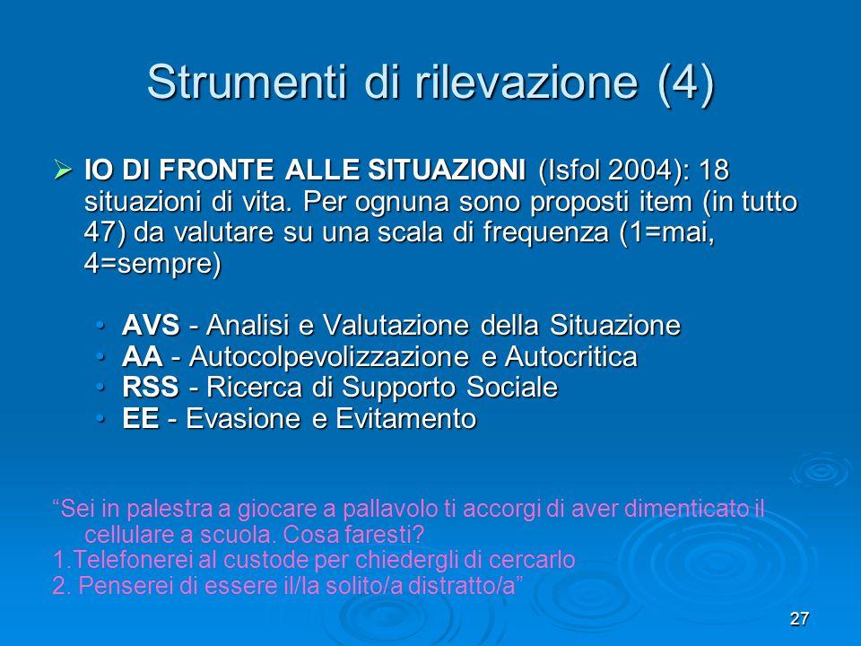 27 Strumenti di rilevazione (4) IO DI FRONTE ALLE SITUAZIONI (Isfol 2004): 18 situazioni di vita. Per ognuna sono proposti item (in tutto 47) da valut