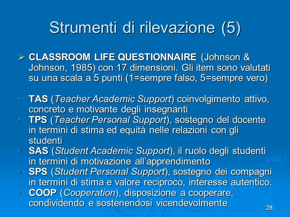 28 Strumenti di rilevazione (5) CLASSROOM LIFE QUESTIONNAIRE (Johnson & Johnson, 1985) con 17 dimensioni. Gli item sono valutati su una scala a 5 punt