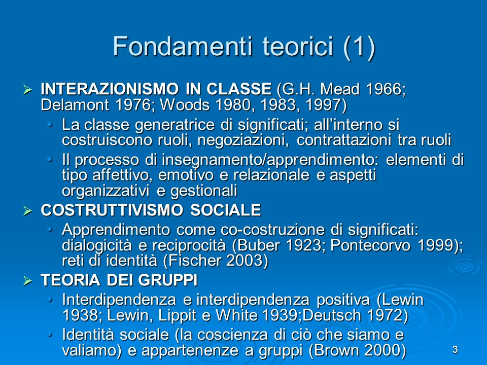 3 Fondamenti teorici (1) INTERAZIONISMO IN CLASSE (G.H. Mead 1966; Delamont 1976; Woods 1980, 1983, 1997) INTERAZIONISMO IN CLASSE (G.H. Mead 1966; De