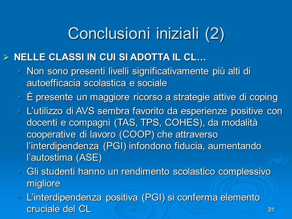 31 Conclusioni iniziali (2) NELLE CLASSI IN CUI SI ADOTTA IL CL… NELLE CLASSI IN CUI SI ADOTTA IL CL… Non sono presenti livelli significativamente più