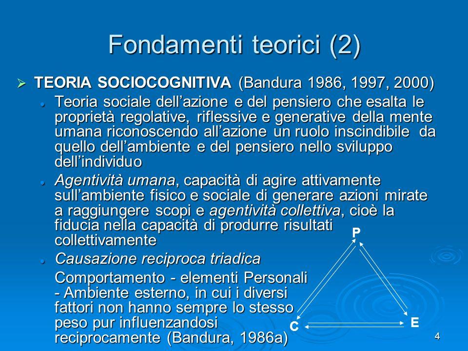 4 Fondamenti teorici (2) TEORIA SOCIOCOGNITIVA (Bandura 1986, 1997, 2000) TEORIA SOCIOCOGNITIVA (Bandura 1986, 1997, 2000) Teoria sociale dellazione e