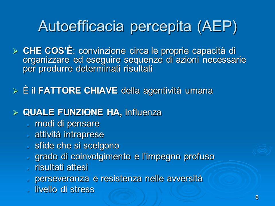 6 Autoefficacia percepita (AEP) CHE COSÈ: convinzione circa le proprie capacità di organizzare ed eseguire sequenze di azioni necessarie per produrre