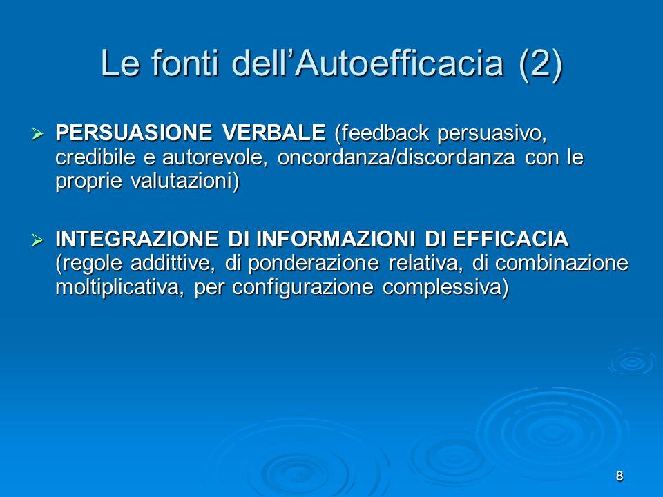 8 Le fonti dellAutoefficacia (2) PERSUASIONE VERBALE (feedback persuasivo, credibile e autorevole, oncordanza/discordanza con le proprie valutazioni)