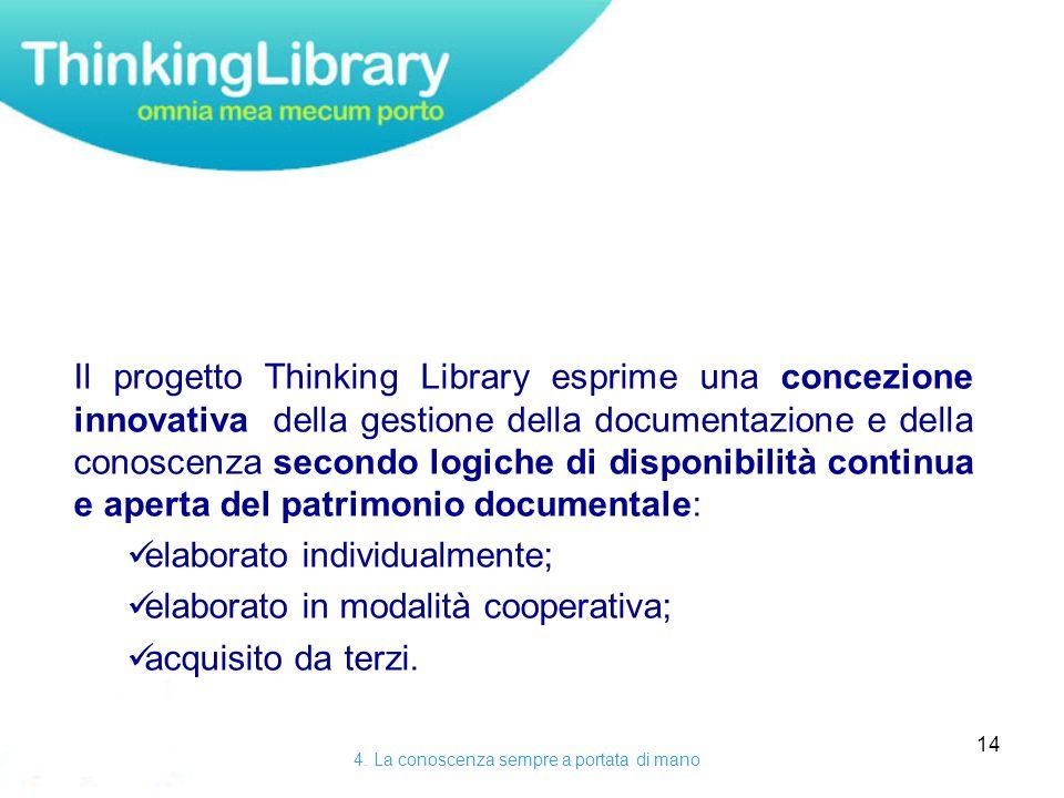 14 Il progetto Thinking Library esprime una concezione innovativa della gestione della documentazione e della conoscenza secondo logiche di disponibilità continua e aperta del patrimonio documentale: elaborato individualmente; elaborato in modalità cooperativa; acquisito da terzi.