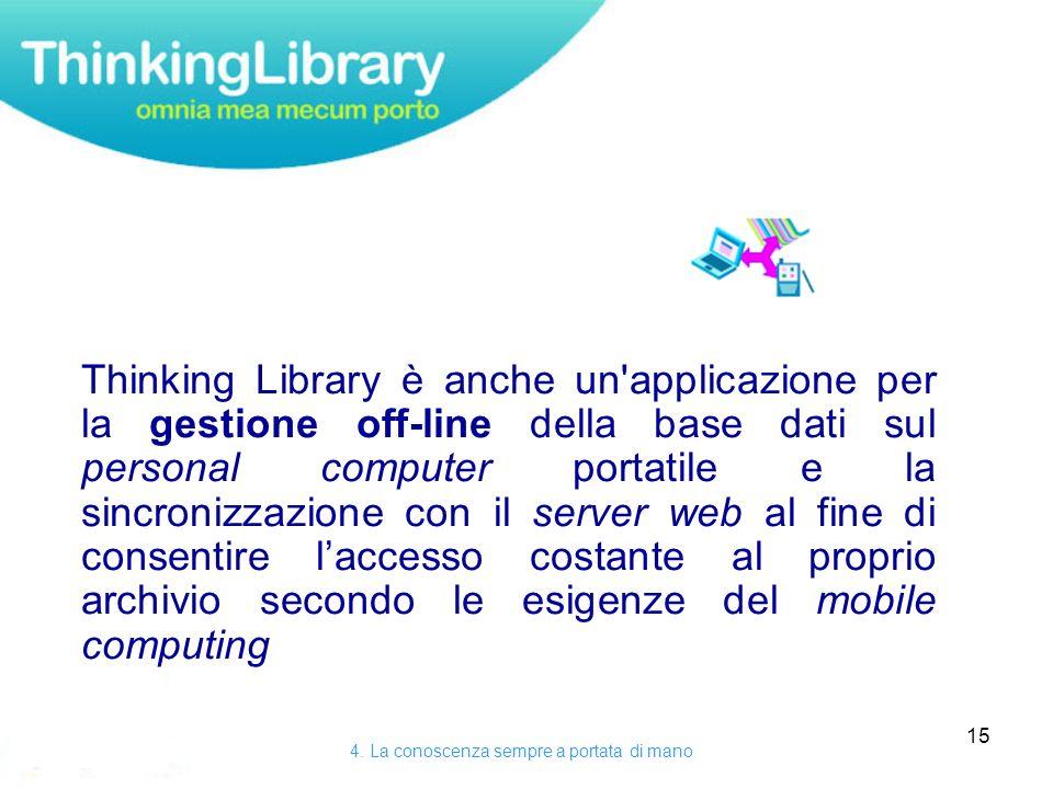 15 Thinking Library è anche un applicazione per la gestione off-line della base dati sul personal computer portatile e la sincronizzazione con il server web al fine di consentire laccesso costante al proprio archivio secondo le esigenze del mobile computing 4.