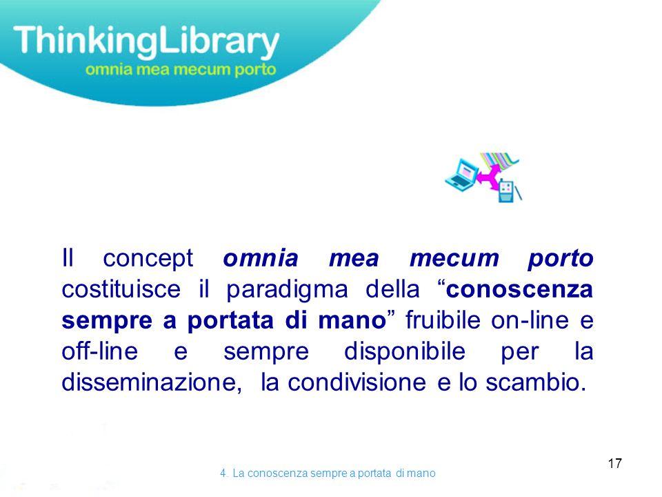 17 Il concept omnia mea mecum porto costituisce il paradigma della conoscenza sempre a portata di mano fruibile on-line e off-line e sempre disponibile per la disseminazione, la condivisione e lo scambio.