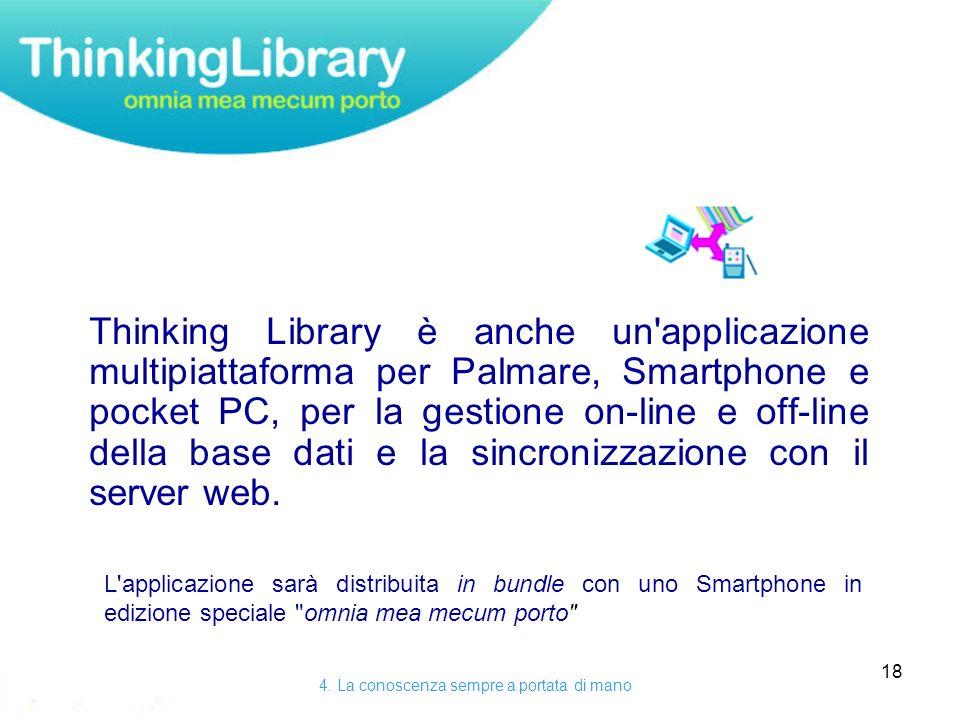 18 Thinking Library è anche un applicazione multipiattaforma per Palmare, Smartphone e pocket PC, per la gestione on-line e off-line della base dati e la sincronizzazione con il server web.