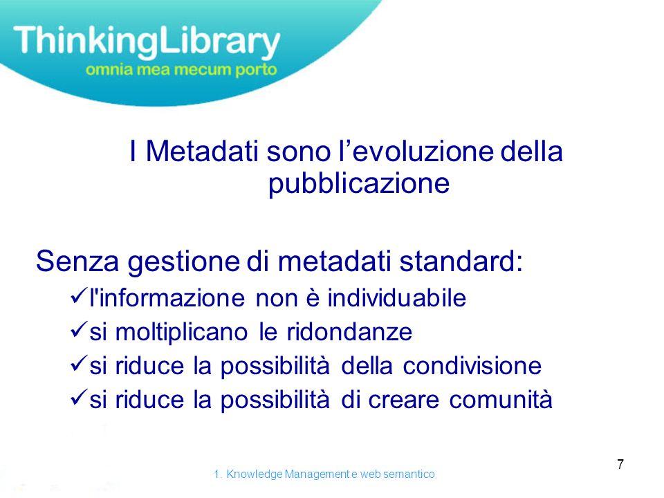 7 I Metadati sono levoluzione della pubblicazione Senza gestione di metadati standard: l informazione non è individuabile si moltiplicano le ridondanze si riduce la possibilità della condivisione si riduce la possibilità di creare comunità 1.