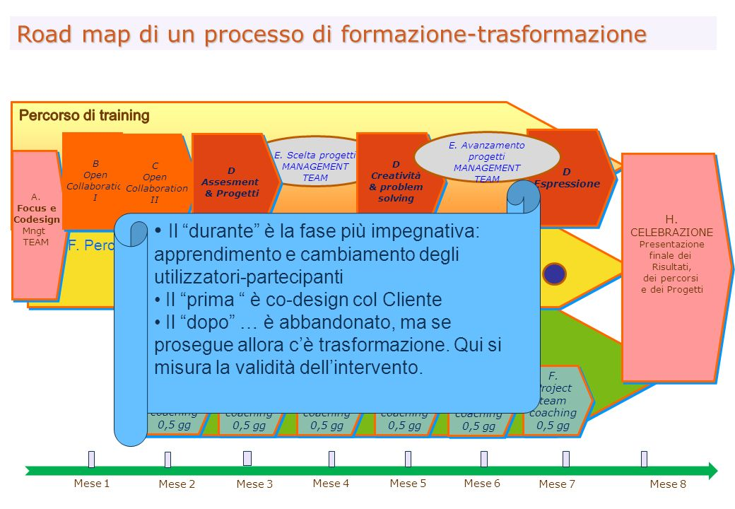 G. Project Team Coaching Road map di un processo di formazione-trasformazione F. Project team coaching 0,5 gg F. Project team coaching 0,5 gg F. Proje