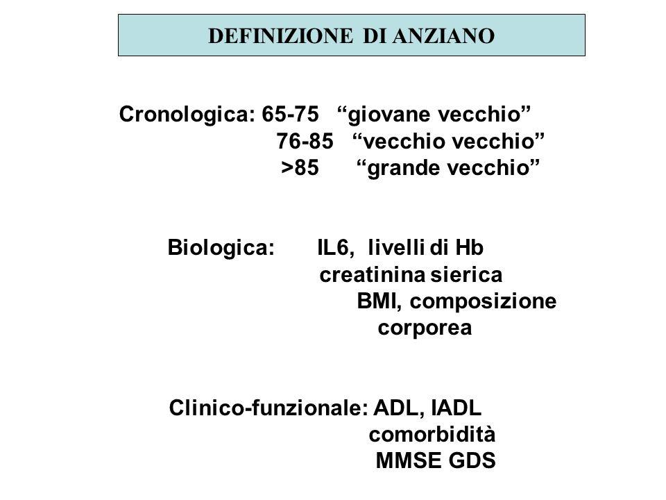 Cronologica: 65-75 giovane vecchio 76-85 vecchio vecchio >85 grande vecchio Biologica: IL6, livelli di Hb creatinina sierica BMI, composizione corpore