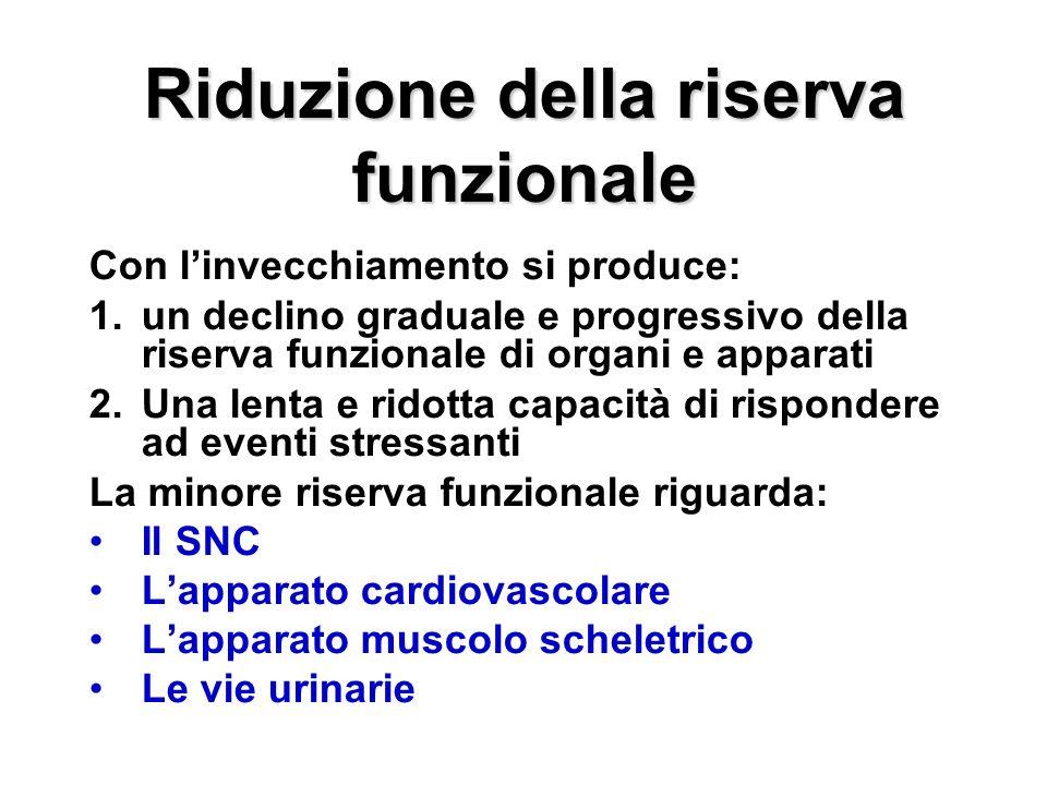 Riduzione della riserva funzionale Con linvecchiamento si produce: 1.un declino graduale e progressivo della riserva funzionale di organi e apparati 2