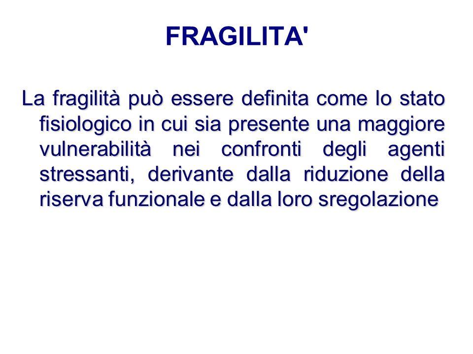 FRAGILITA' La fragilità può essere definita come lo stato fisiologico in cui sia presente una maggiore vulnerabilità nei confronti degli agenti stress
