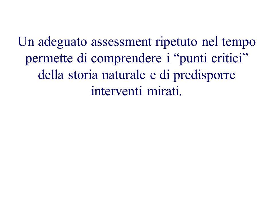 Un adeguato assessment ripetuto nel tempo permette di comprendere i punti critici della storia naturale e di predisporre interventi mirati.