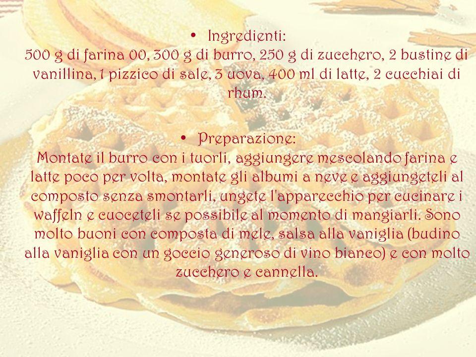 Ingredienti: 500 g di farina 00, 300 g di burro, 250 g di zucchero, 2 bustine di vanillina, 1 pizzico di sale, 3 uova, 400 ml di latte, 2 cucchiai di