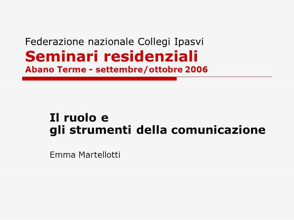 Federazione nazionale Collegi Ipasvi Seminari residenziali Abano Terme - settembre/ottobre 2006 Il ruolo e gli strumenti della comunicazione Emma Mart