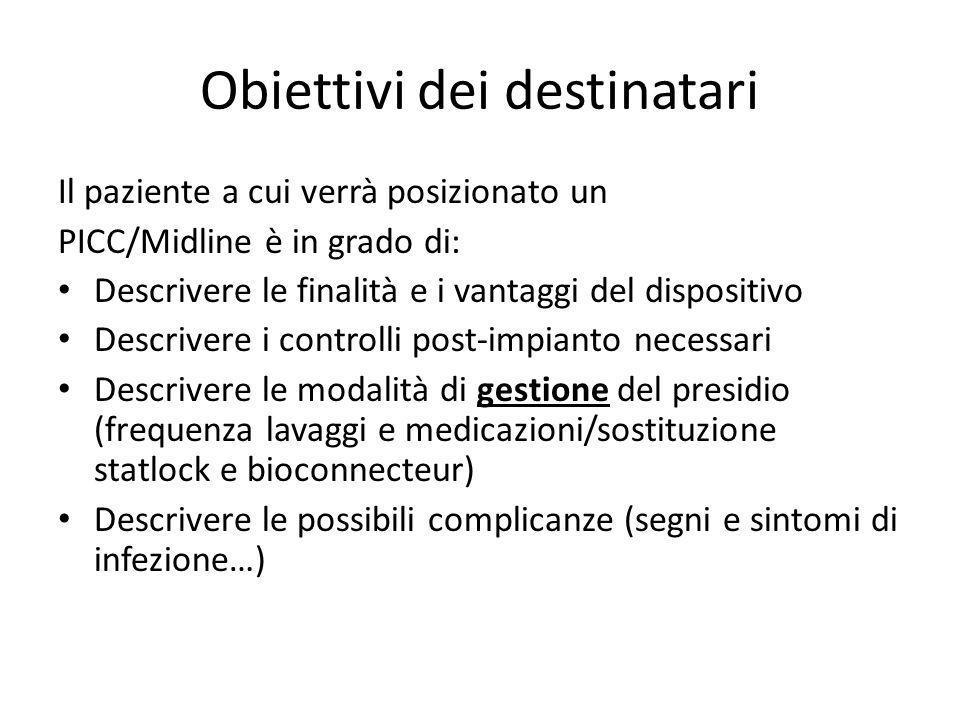 Obiettivi dei destinatari Il paziente a cui verrà posizionato un PICC/Midline è in grado di: Descrivere le finalità e i vantaggi del dispositivo Descr